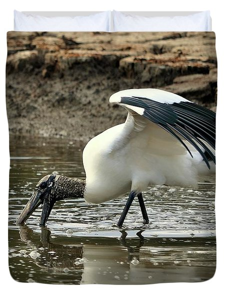 Wood Stork Fishing Duvet Cover by Al Powell Photography USA