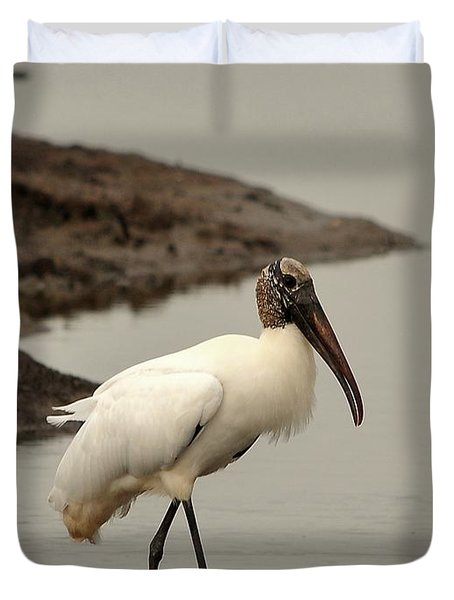 Wood Stork Walking Duvet Cover by Al Powell Photography USA