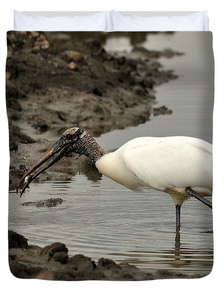 Wood Stork With Fish Duvet Cover by Al Powell Photography USA
