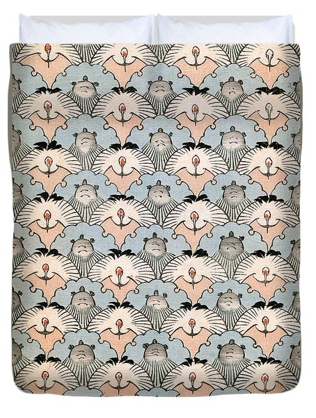 Woodblock Print Of Ibis And Bats Duvet Cover by Japanese School