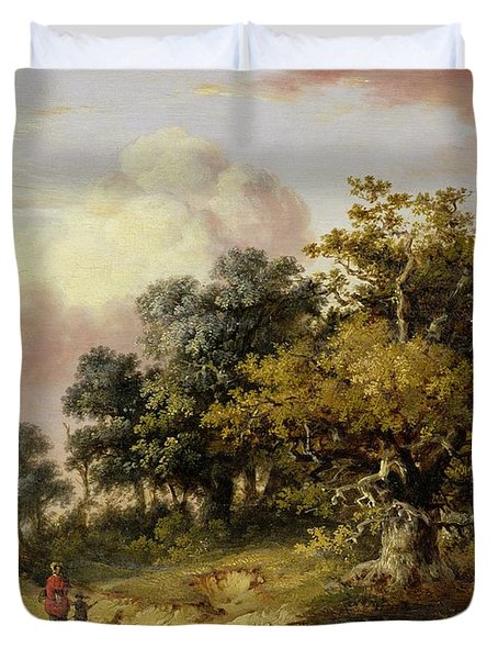 Wooded Landscape With Woman And Child Walking Down A Road  Duvet Cover by Robert Ladbrooke