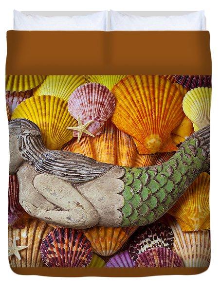 Wooden Mermaid Duvet Cover by Garry Gay
