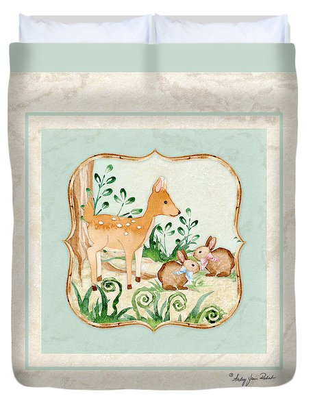 Woodland Fairy Tale - Deer Fawn Baby Bunny Rabbits In Forest Duvet Cover by Audrey Jeanne Roberts