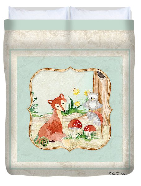 Woodland Fairy Tale - Fox Owl Mushroom Forest Duvet Cover by Audrey Jeanne Roberts