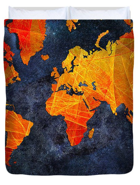 World Map - Elegance Of The Sun - Fractal - Abstract - Digital Art 2 Duvet Cover by Andee Design