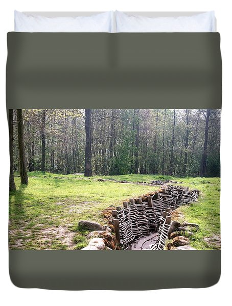 Duvet Cover featuring the photograph World War One Trenches by Travel Pics