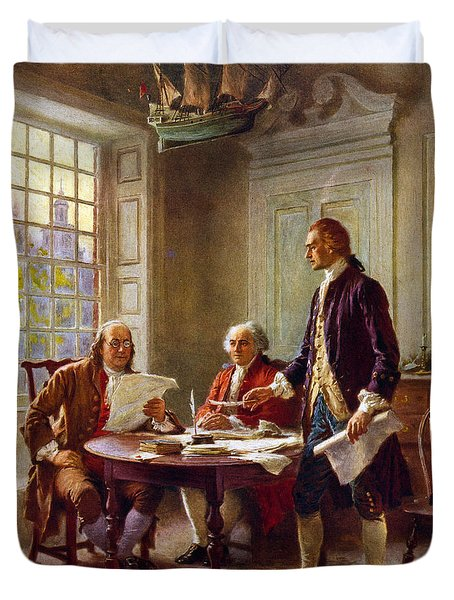 Writing The Declaration Of Independence, 1776, Duvet Cover by Leon Gerome Ferris