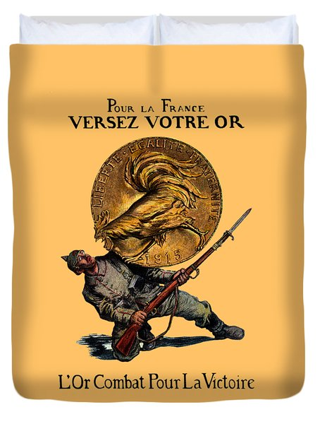 Wwi Gold For French Victory Duvet Cover by Historic Image