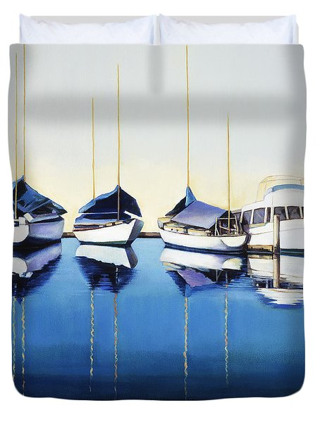 Yacht Harbor Duvet Cover by Han Choi - Printscapes