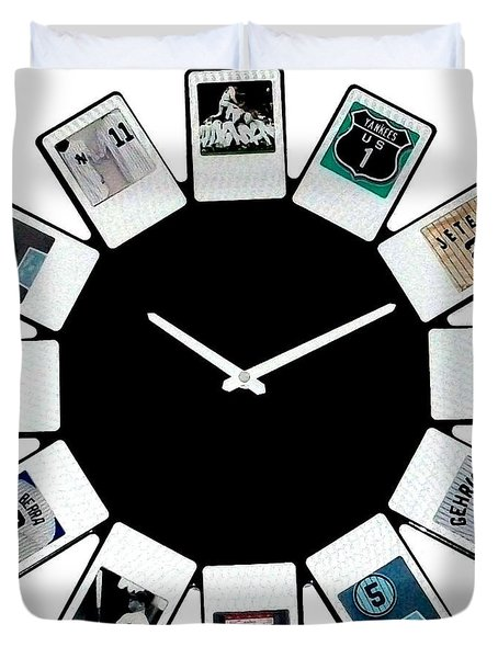 yankees Clock Duvet Cover by Paul Van Scott