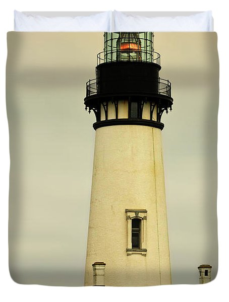Yaquina Head Lighthouse - Newport OR Duvet Cover by Christine Till
