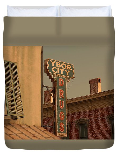 Ybor City Drugs Duvet Cover by Robert Youmans