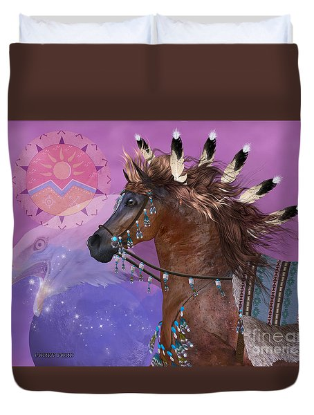Year Of The Eagle Horse Duvet Cover by Corey Ford