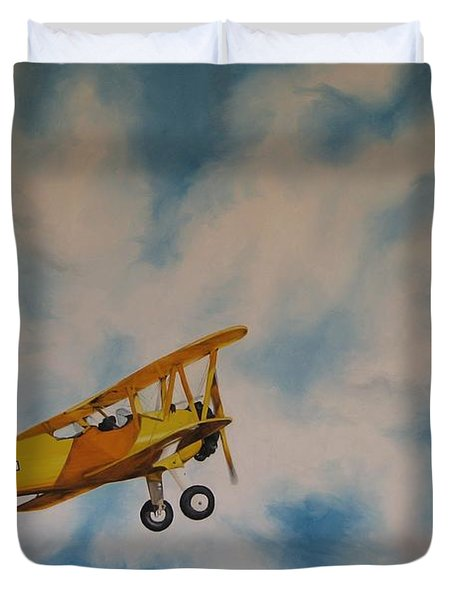 Yellow Airplane Duvet Cover by Jindra Noewi