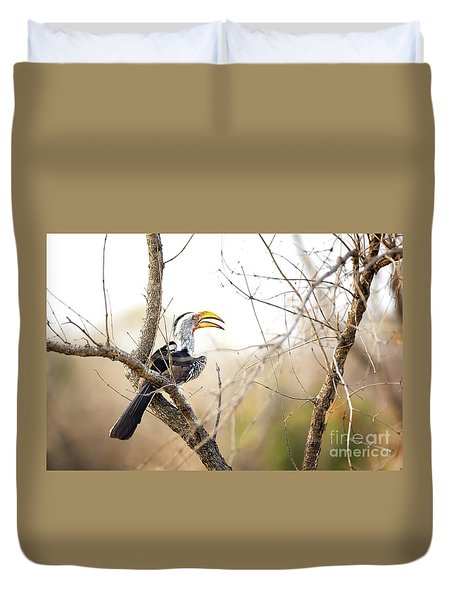 Yellow-billed Hornbill Sitting In A Tree.  Duvet Cover by Jane Rix