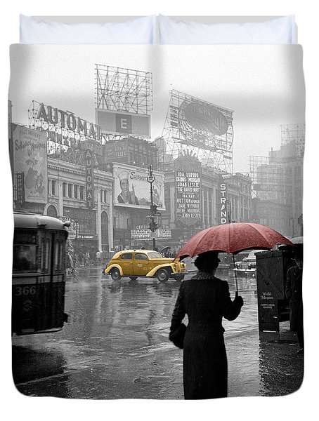 Yellow Cabs New York 2 Duvet Cover by Andrew Fare