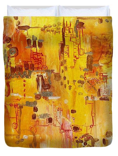 Yellow Conundrum Duvet Cover by Regina Valluzzi
