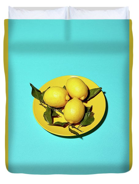 Yellow Lemons On Cyan Duvet Cover by Oleg Cherneikin