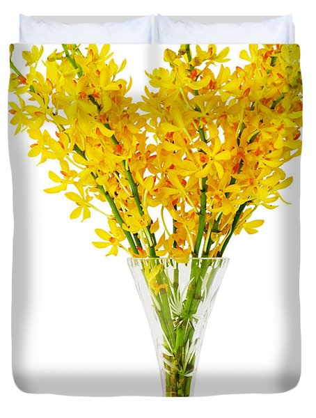 Yellow Orchid In Crystal Vase Duvet Cover by Atiketta Sangasaeng