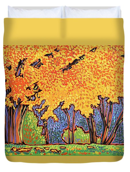 Yellow Tree Duvet Cover by Nadi Spencer