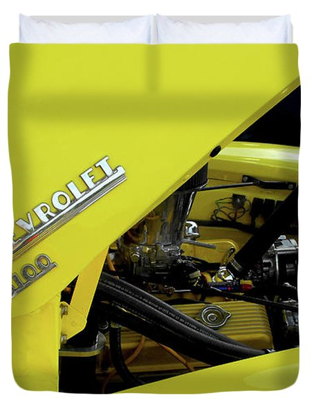 Yellow Truck Duvet Cover by Kristie  Bonnewell