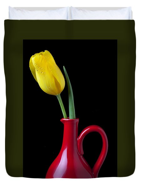 Yellow Tulip In Red Pitcher Duvet Cover by Garry Gay