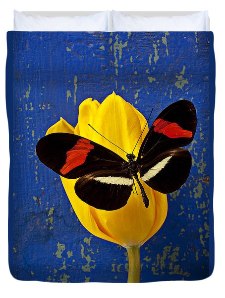 Yellow Tulip With Orange And Black Butterfly Duvet Cover by Garry Gay
