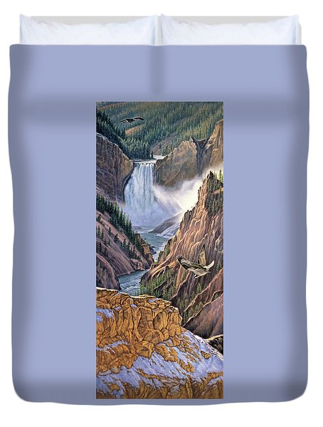Yellowstone Canyon-osprey Duvet Cover by Paul Krapf