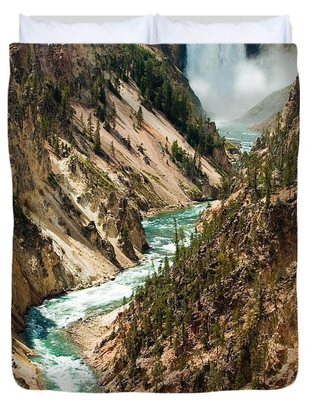 Yellowstone Waterfalls Duvet Cover by Sebastian Musial