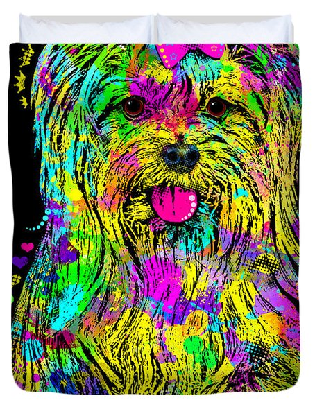Yorkie Beauty Duvet Cover by Zaira Dzhaubaeva
