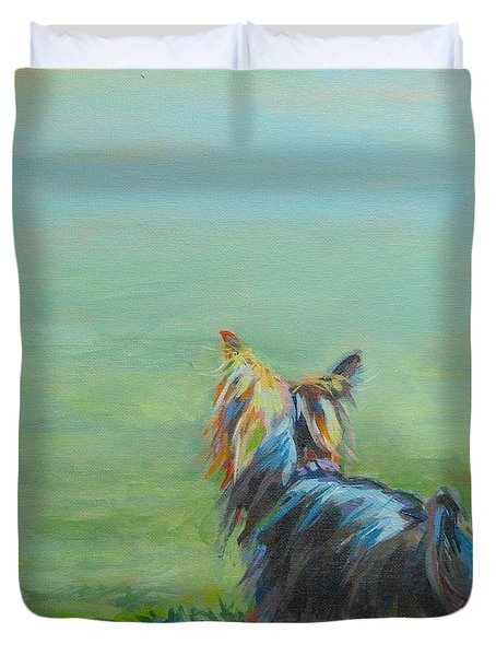 Yorkie In The Grass Duvet Cover by Kimberly Santini