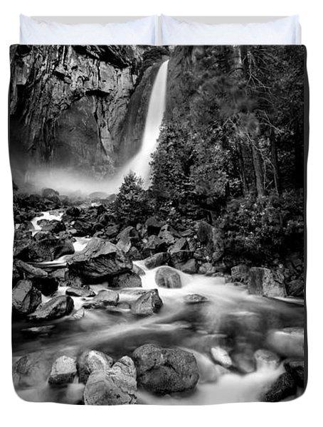 Yosemite Waterfall Bw Duvet Cover by Az Jackson