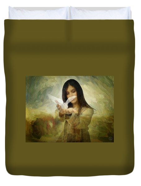 You Bird Of Freedom And Peace Duvet Cover by Gun Legler