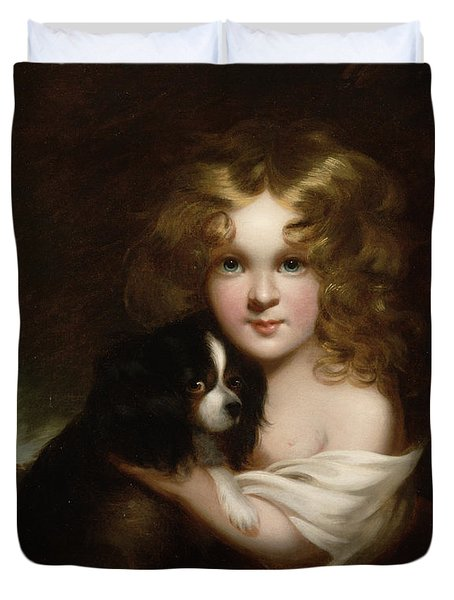 Young Girl With A Dog Duvet Cover by Margaret Sarah Carpenter