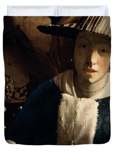 Young Girl With A Flute Duvet Cover by Jan Vermeer
