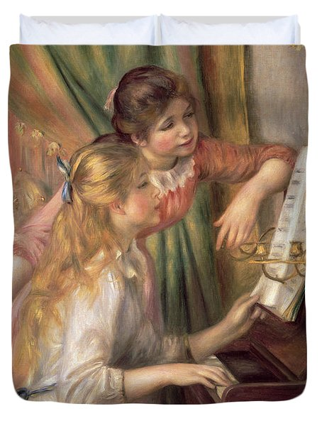 Young Girls At The Piano Duvet Cover by Pierre Auguste Renoir
