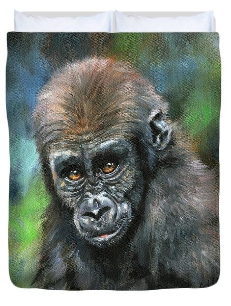 Young Gorilla Duvet Cover by David Stribbling