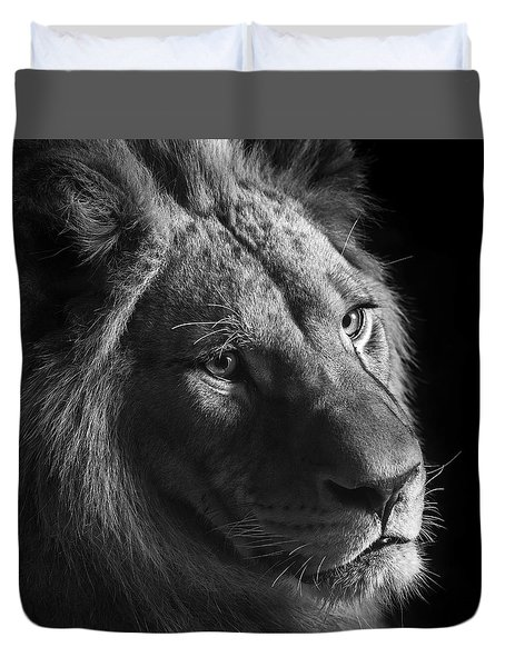 Young Lion In Black And White Duvet Cover by Lukas Holas