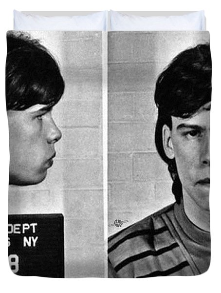 Young Steven Tyler Mug Shot 1963 Pencil Photograph Black And White Duvet Cover by Tony Rubino