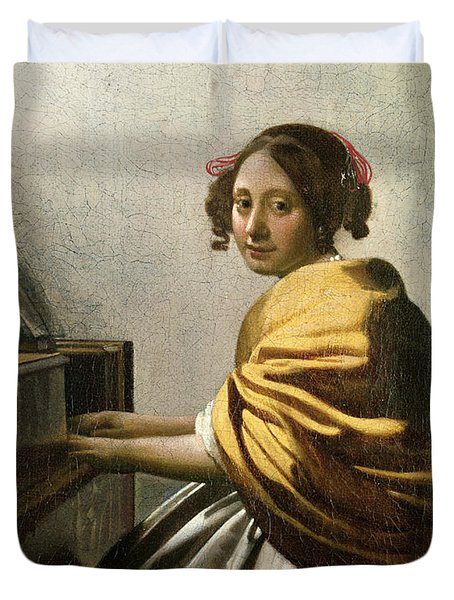 Young Woman At A Virginal Duvet Cover by Jan Vermeer