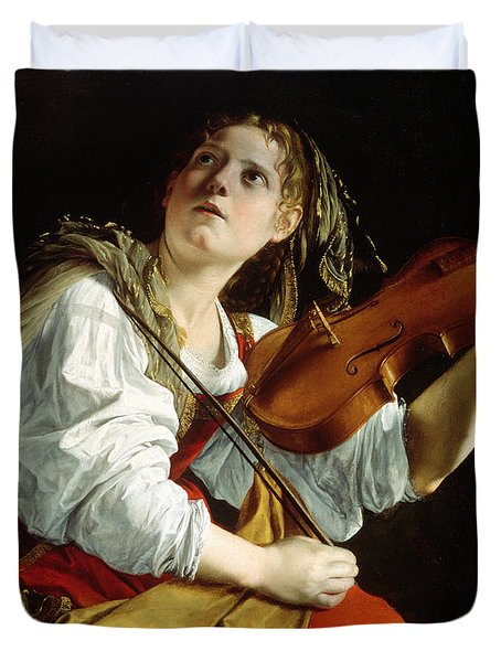 Young Woman With A Violin Duvet Cover by Orazio Gentileschi