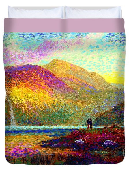 Your Love Colors My World, Modern Impressionism, Romantic Art Duvet Cover by Jane Small
