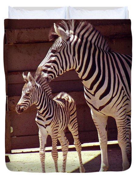 Zebra Mom And Baby Duvet Cover by Methune Hively