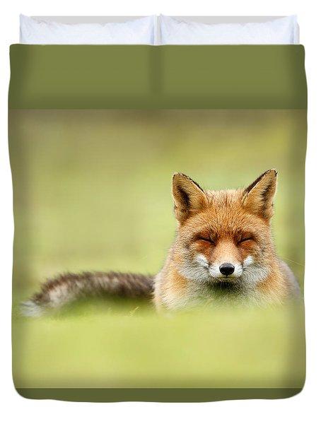 Zen Fox Series - Zen Fox In A Sea Of Green Duvet Cover by Roeselien Raimond