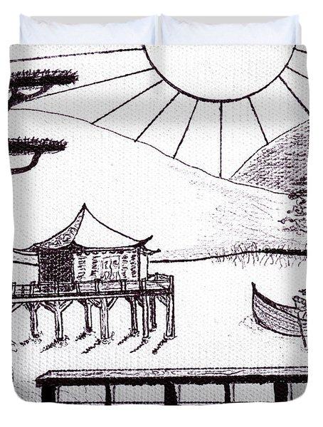 Zen Lake Original Black Ink On White Canvas By Ricardos Duvet Cover by Ricardos Creations