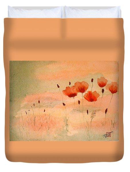 Zen Poppies Duvet Cover by Arlene  Wright-Correll