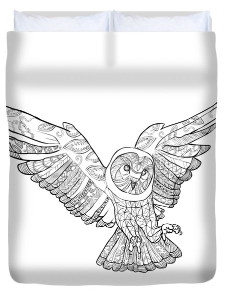 Zentangle Owl In Flight Duvet Cover by Cindy Elsharouni