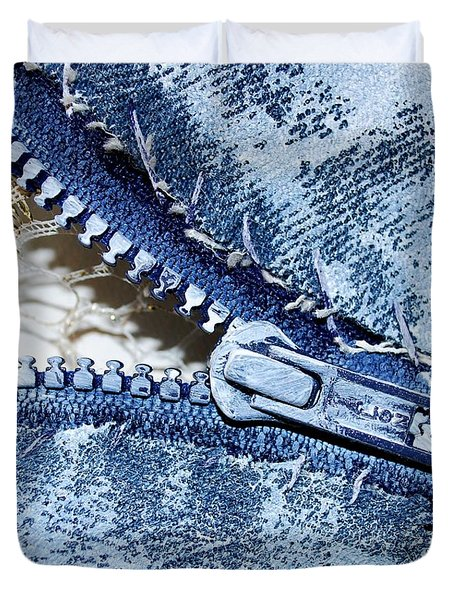 Zipper In Blue Duvet Cover by Nancy Mueller