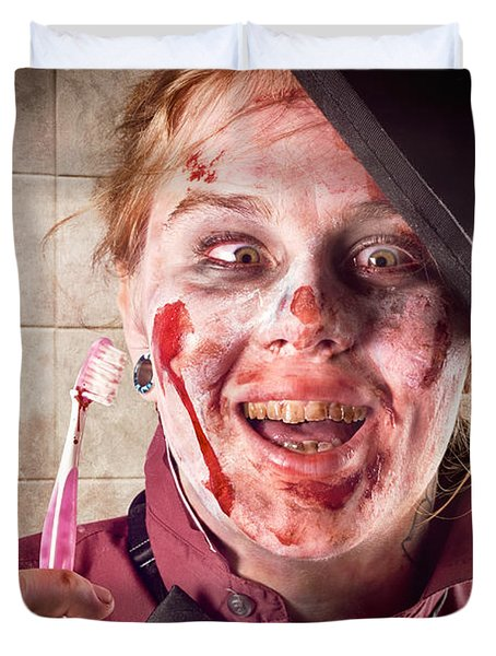 Zombie at dentist holding toothbrush. Tooth decay Duvet Cover by Ryan Jorgensen