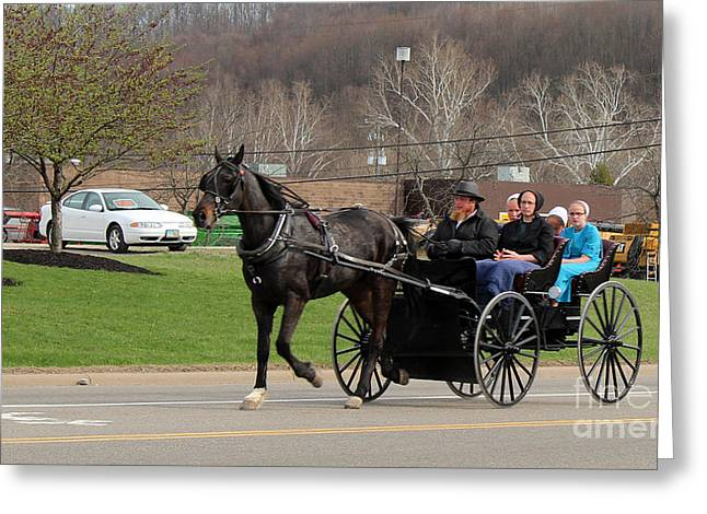 Amish Family Greeting Cards -            Family Time Greeting Card by R A W M